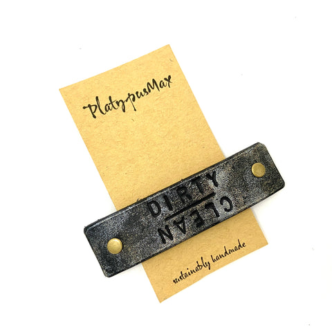 CLEAN / DIRTY Funny Upcycled Leather Barrette - Platypus Max