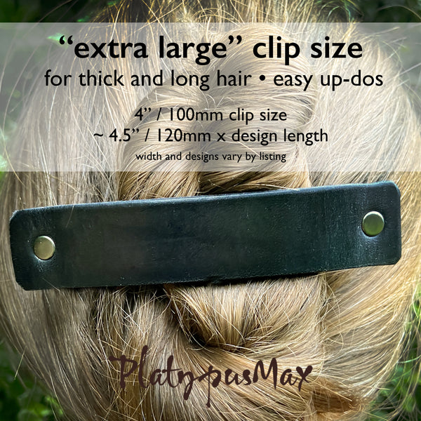 Gunmetal / Dark Silver Leather Barrette with Rustic Spirals Texture - Platypus Max