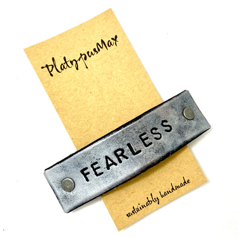 FEARLESS Stamped Leather Barrette - Platypus Max