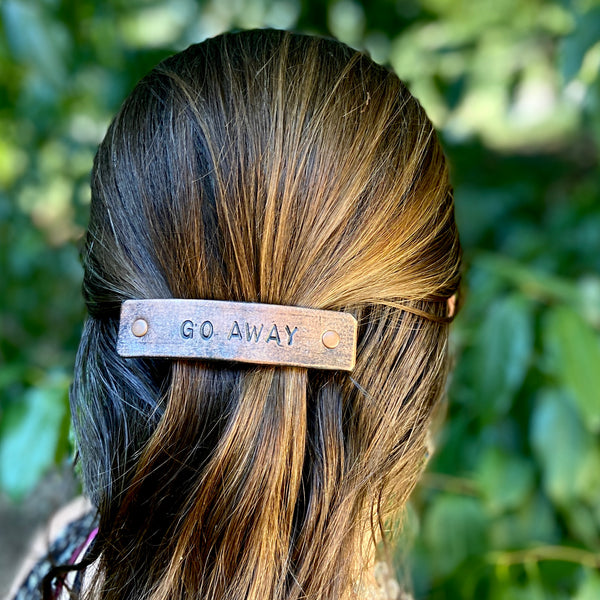 GO AWAY Stamped Leather Barrette