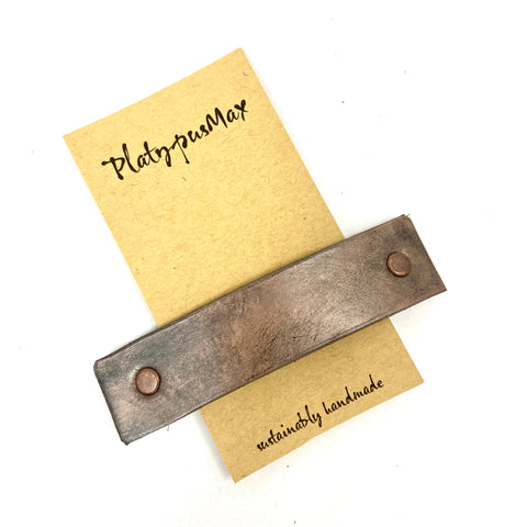 Espresso Bronze & Copper Basic Leather Barrette - Platypus Max