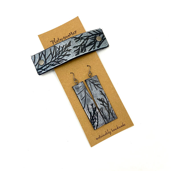 Silver & Black Juniper Branches Barrette and Earring Gift Set - Platypus Max