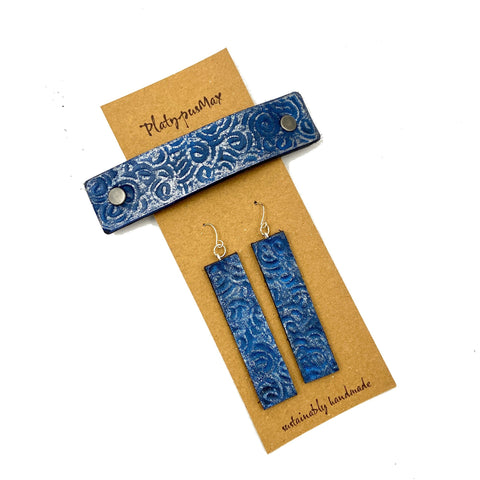 Blue & Silver Ocean Waves Barrette and Earring Gift Set - Platypus Max