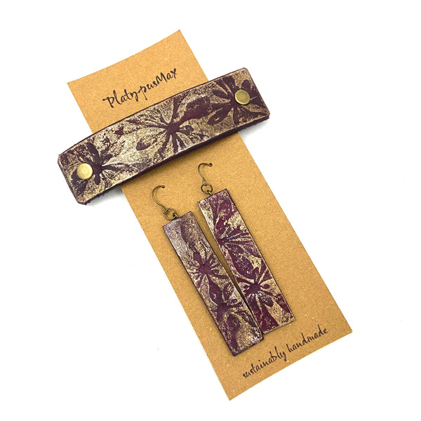 Burgundy & Gold Pressed Flowers Barrette and Earring Gift Set - Platypus Max