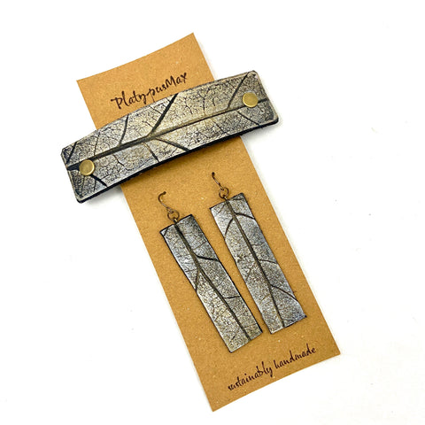 Silvery Gold Oak Leaf Imprint Barrette and Earring Gift Set - Platypus Max