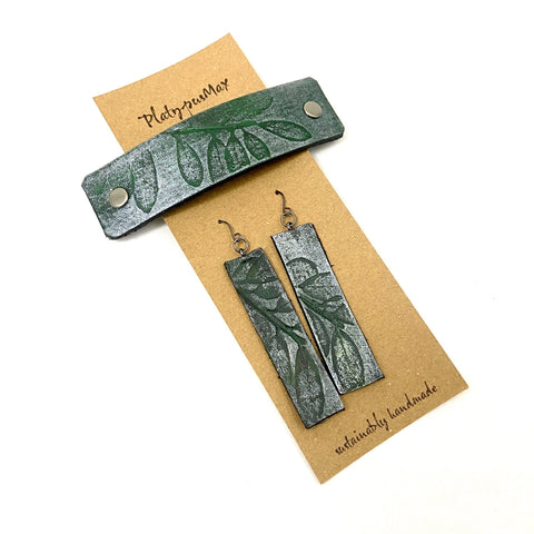 Green & Silver Embossed Leaves Barrette and Earring Gift Set - Platypus Max