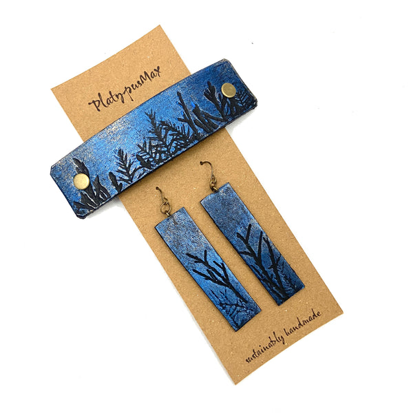 Moonlit Forest Trees Blue & Gold Barrette and Earring Gift Set - Platypus Max