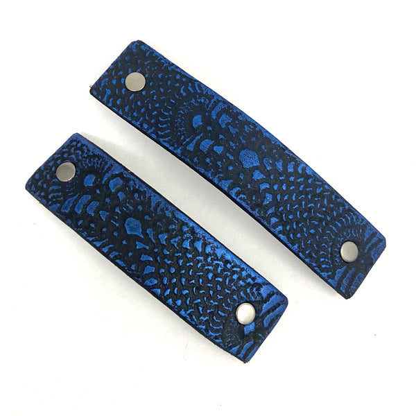 Cobalt Blue & Black Lace Texture Barrette and Earring Gift Set - Platypus Max
