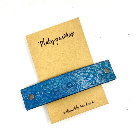 Brilliant Blue / Turquoise Lace Mandala Imprint Leather Hair Barrette - Platypus Max