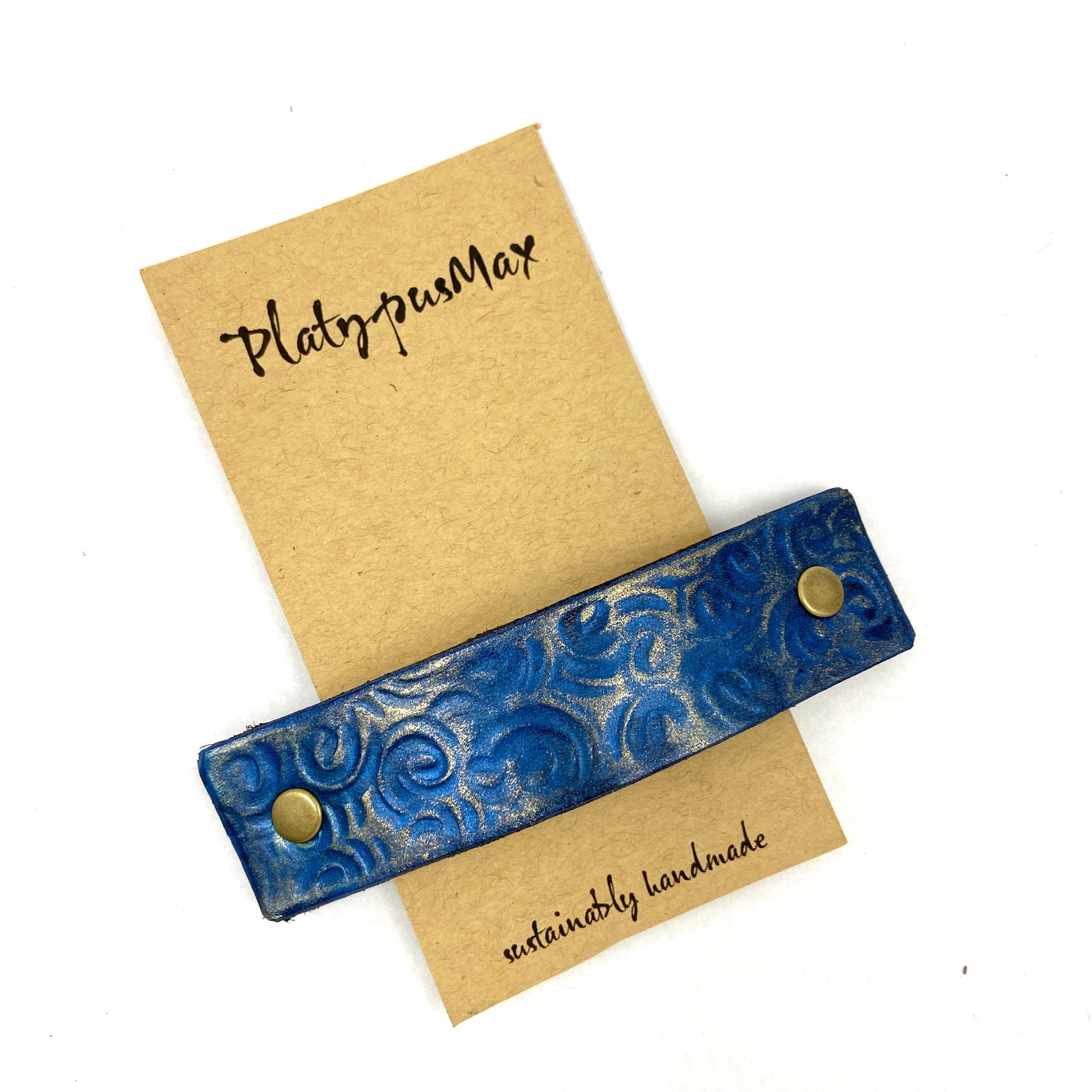 Lapis Blue & Gold Leather Barrette with Rustic Spirals Texture - Platypus Max