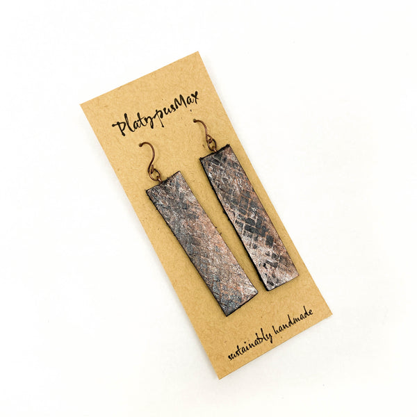 Bronze Weave Textured Leather Long Bar Earrings - Platypus Max