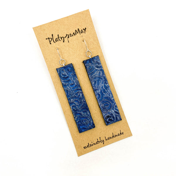 Blue & Silver Ocean Waves Leather Bar Earrings - Platypus Max