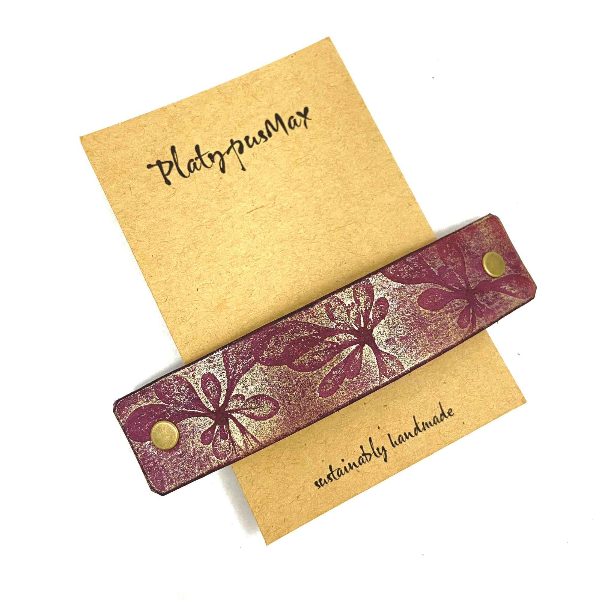 Burgundy Purple & Gold Pressed Flowers Leather Hair Barrette - Platypus Max