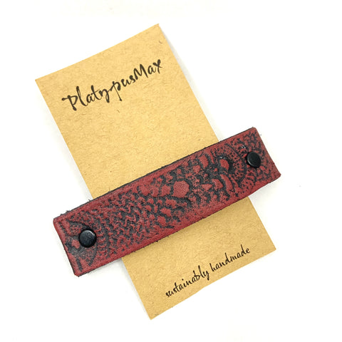 Rustic Cinnabar Red Leather Hair Barrette - Platypus Max