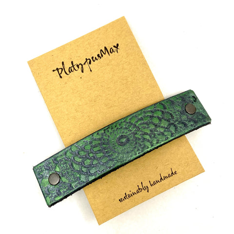 Metallic Emerald Green and Silver Embossed Mandala Leather Hair Barrette - Platypus Max