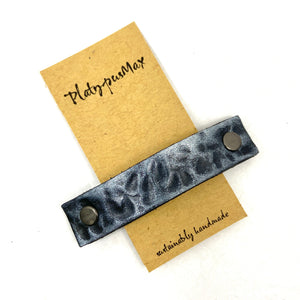 Small Hammered Gunmetal Barrette, Made From Upcycled Leather, Made From Upcycled Leather, Rustic Style - Platypus Max