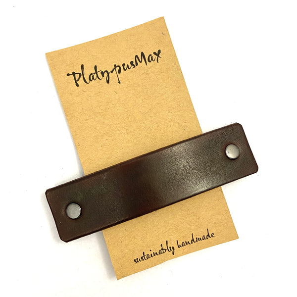 Chocolate Brown Leather Eco Barrette - Platypus Max