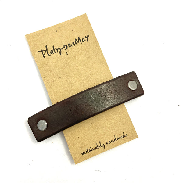 Chocolate Brown Leather Eco Barrette