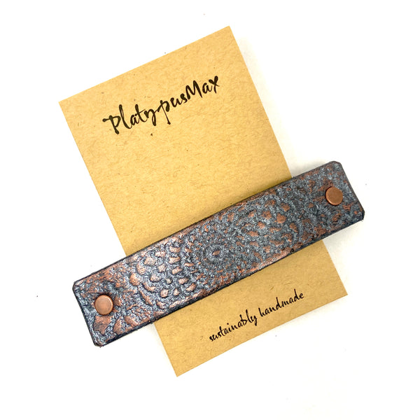 Bronze and Gunmetal Embossed Mandala Leather Hair Barrette - Platypus Max