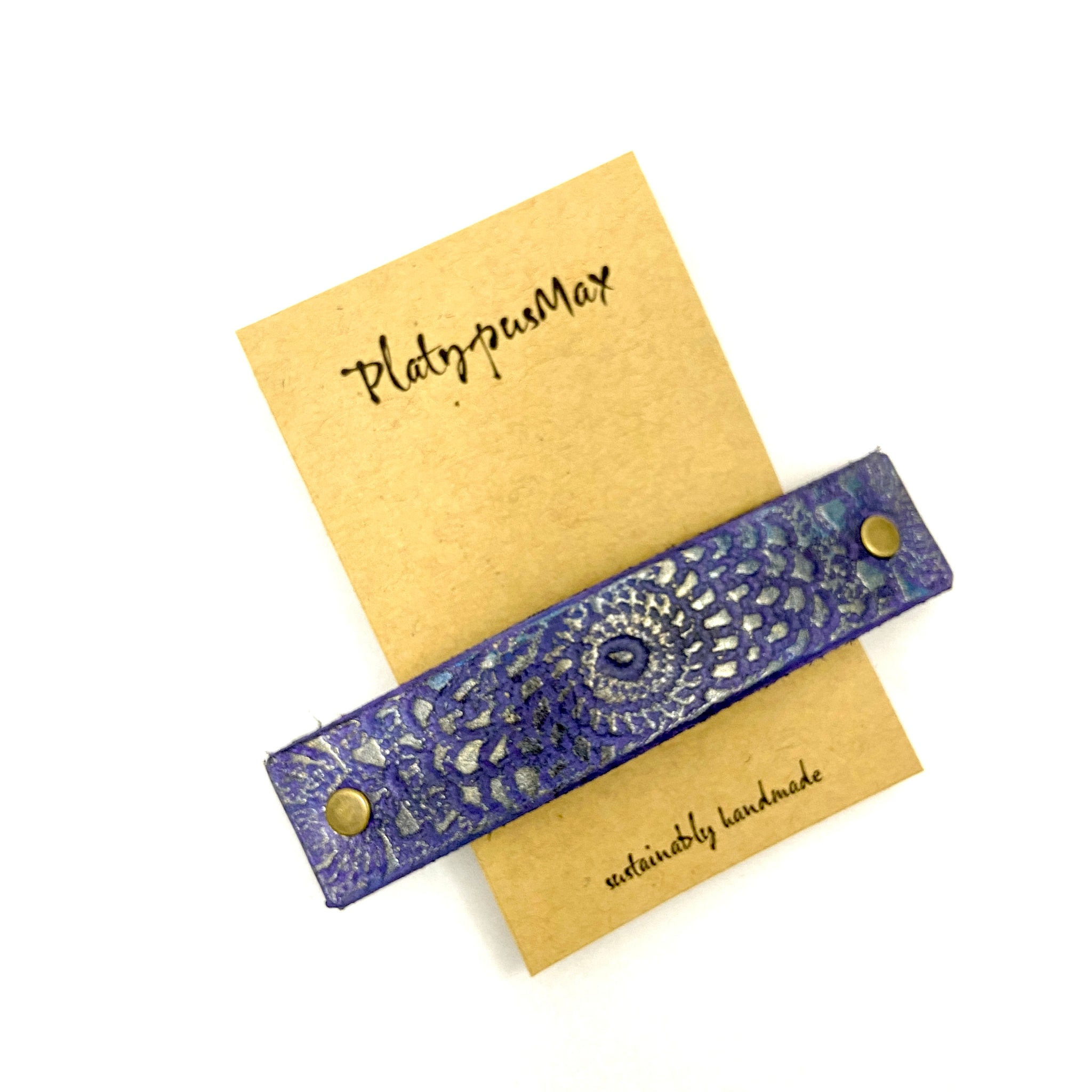 Shimmery Purple and Gold Embossed Mandala Leather Hair Barrette - Platypus Max