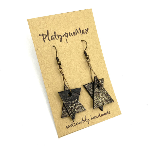 Rustic Star of David Dangle Earrings, Abstract Geometric Leather Design - Platypus Max
