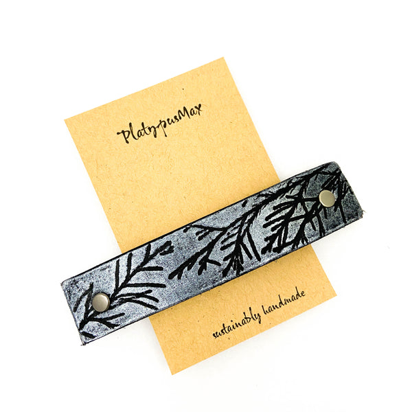 Silver Juniper Branches Leather Hair Barrette - Platypus Max