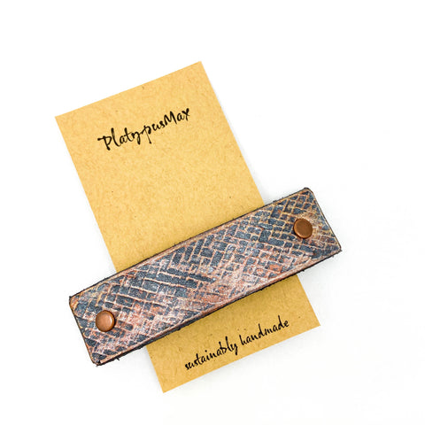 Bronze Weave Textured Leather Hair Barrette - Platypus Max