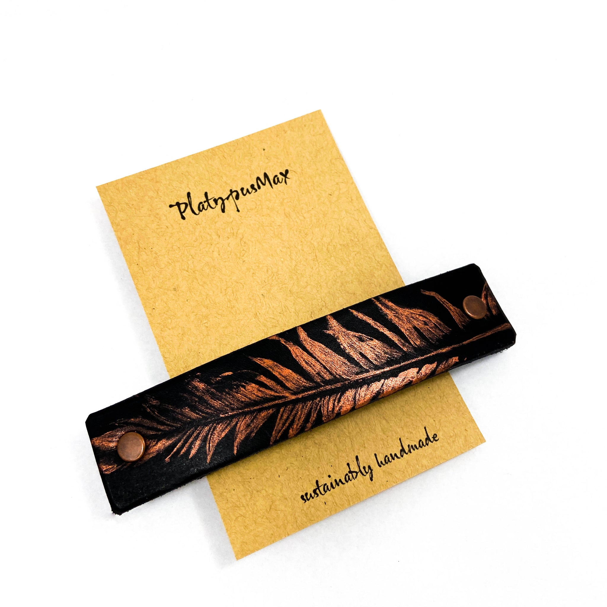 Copper Feather on Black Leather Hair Barrette - Platypus Max