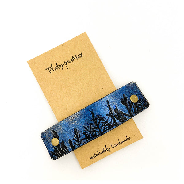 Moonlit Forest Trees Blue & Gold Leather Hair Barrette - Platypus Max