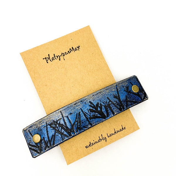 Moonlit Forest Trees Blue & Gold Leather Hair Barrette