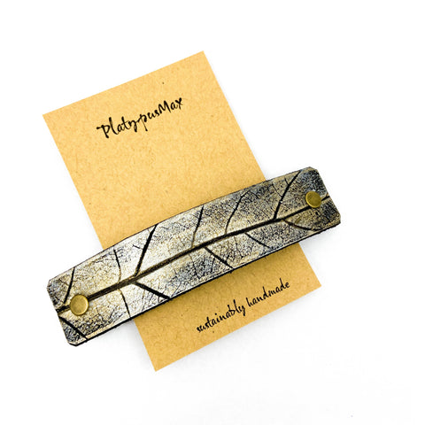 Silvery Gold Oak Leaf Imprint Hair Barrette - Platypus Max