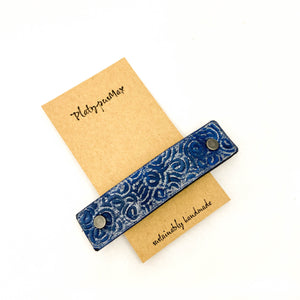 Blue & Silver Ocean Waves Leather Hair Barrette - Platypus Max