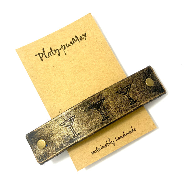 Three Martinis Leather Hair Barrette - Platypus Max