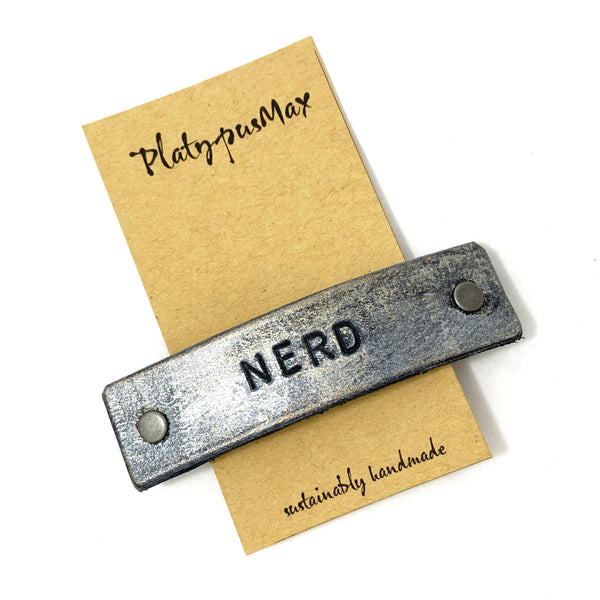 NERD Stamped Leather Barrette - Platypus Max