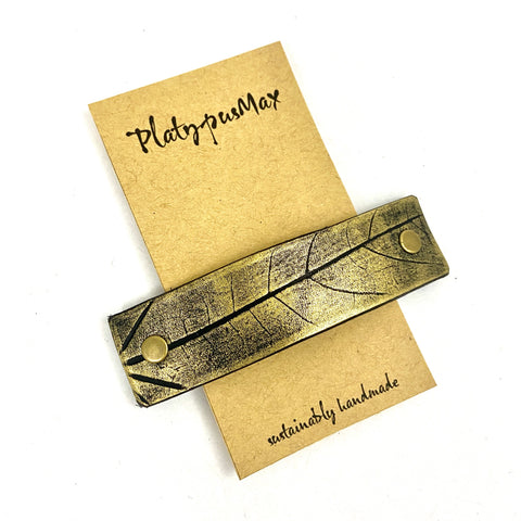 Rustic Gold Leaf Imprint Hair Clip / Leather Barrette - Platypus Max