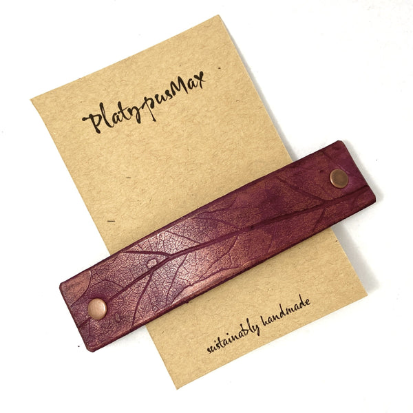 Purple and Copper Oak Leaf Imprint Leather Hair Barrette - Platypus Max