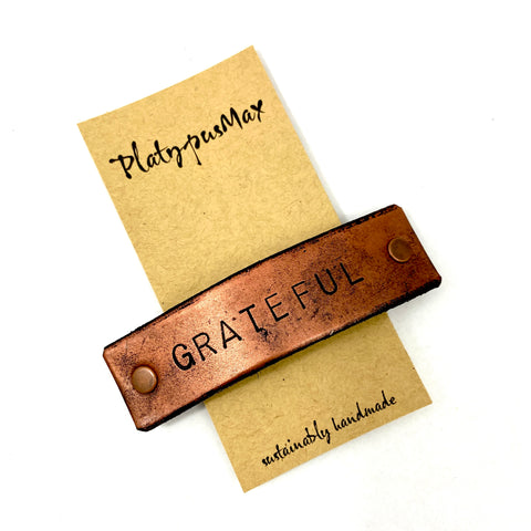 GRATEFUL Stamped Leather Barrette