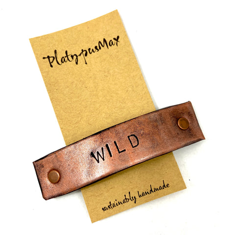 WILD Stamped Leather Barrette