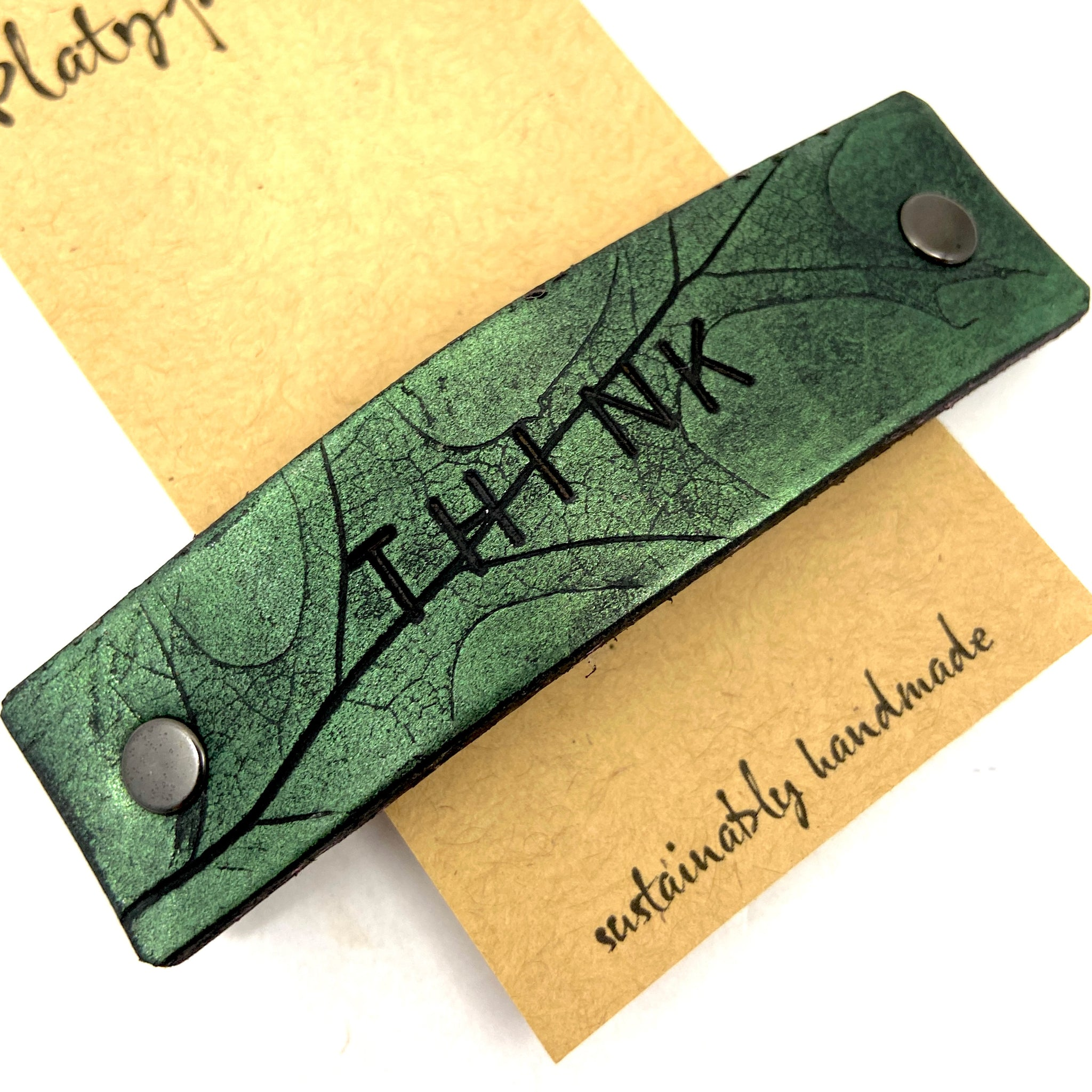 THINK Green Eco / Message Barrette with Pressed Leaf Design - Platypus Max