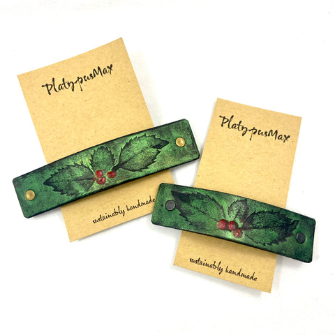 Green Holly Leaves & Red Berries Embossed Leather Hair Barrette - Platypus Max