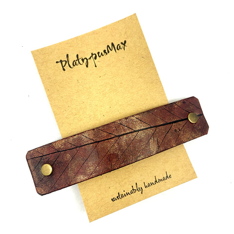 Autumn Red Rustic Beech Leaf Imprint Leather Hair Barrette - Platypus Max