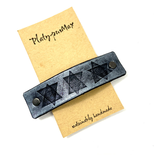 Star of David Embossed Leather Barrette - Large, Extra Large, Small - Platypus Max