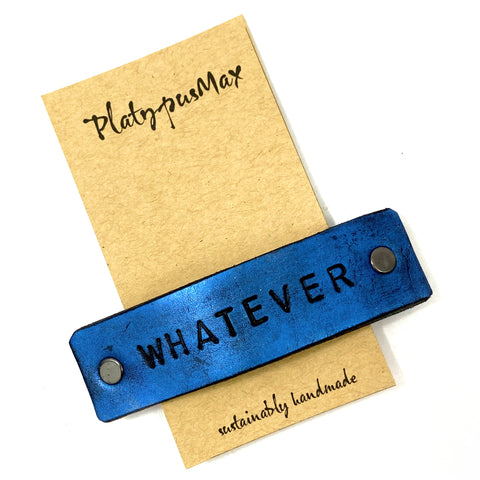 WHATEVER Stamped Leather Barrette