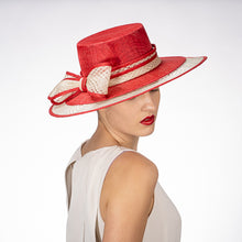 Load image into Gallery viewer, Sinamay Boater Hat in Red and Ivory