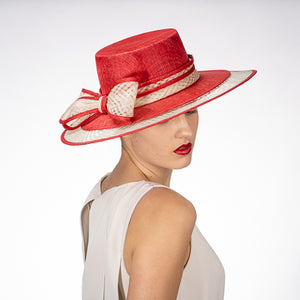 Sinamay Boater Hat in Red and Ivory