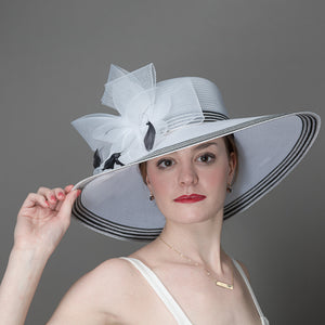 Dress Hat For Women White with Black Trim
