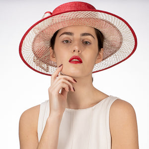 Women's Sinamay Boater Hat in Red and Ivory