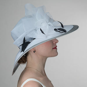 Wide Brim White And Black Dress Hat