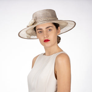Sinamay Boater Hat in Silver and Ivory