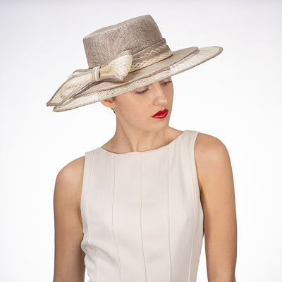 Sinamay Boater Hat in Ivory and Silver